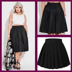 Lane bryant black pleated a-line skirt EUC